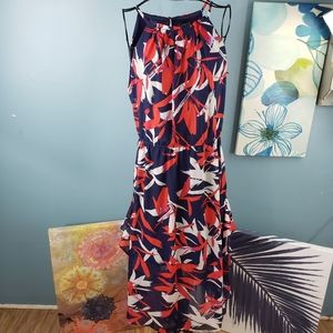 Vince Camuto Red Navy Abstract Maxi Ruffle Dress